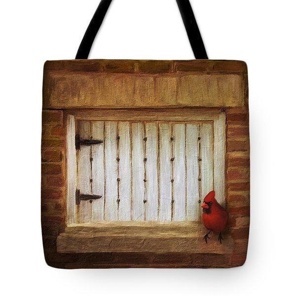 Cardinal On Brick Wall Window 5655 Tote Bag