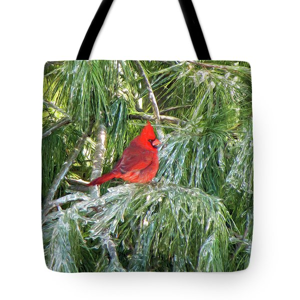 Cardinal On Ice Tote Bag by John Freidenberg