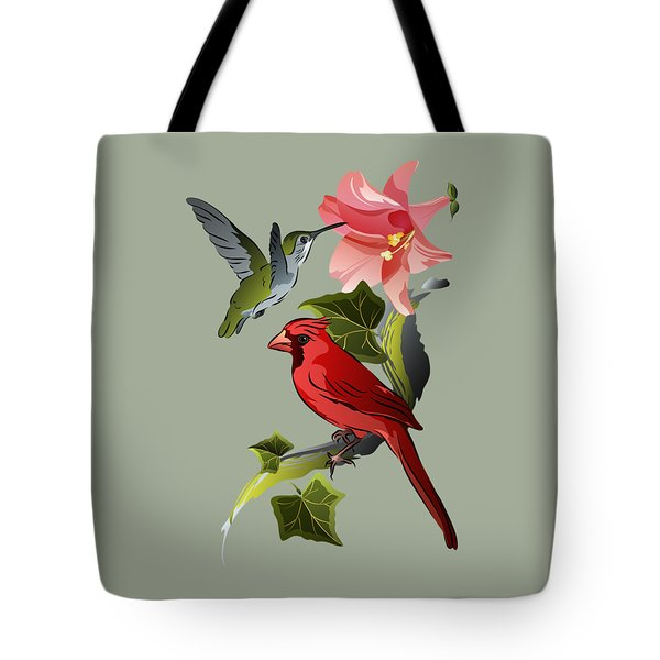 Cardinal On Ivy Branch With Hummingbird And Pink Lily Tote Bag