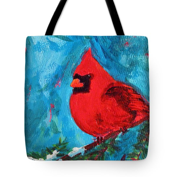 Cardinal Red Bird Watercolor Modern Art Tote Bag