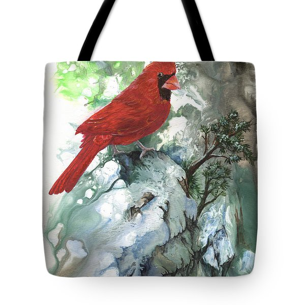 Tote Bag featuring the painting Cardinal by Sherry Shipley