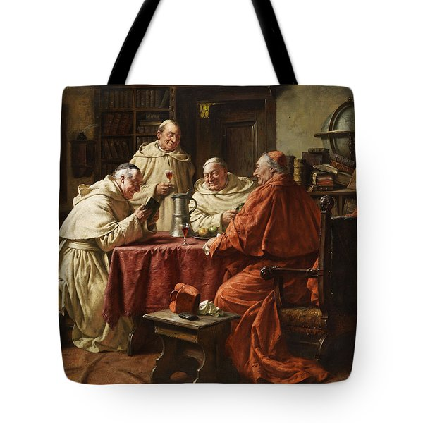 Cardinal With Monks Tote Bag by Fritz Wagner