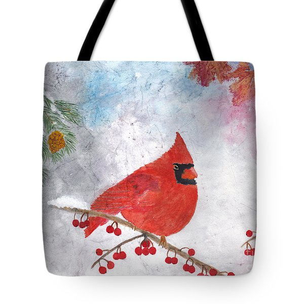 Cardinal With Red Berries And Pine Cones Tote Bag