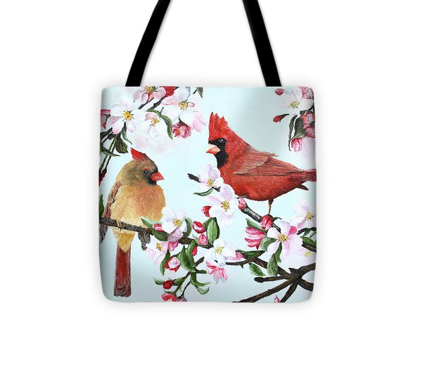 Cardinals And Apple Blossoms Tote Bag by Johanna Lerwick