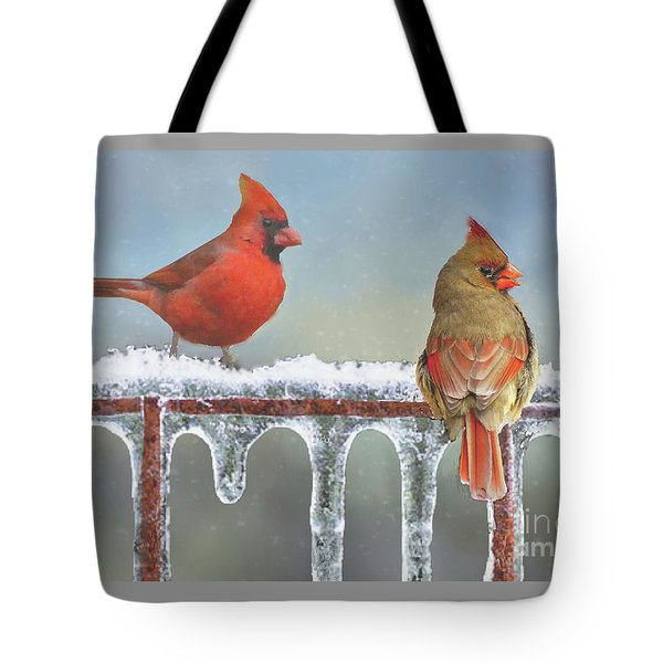 Cardinals And Icicles Tote Bag