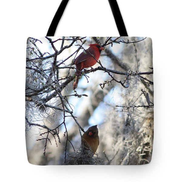 Cardinals In Mossy Tree Tote Bag