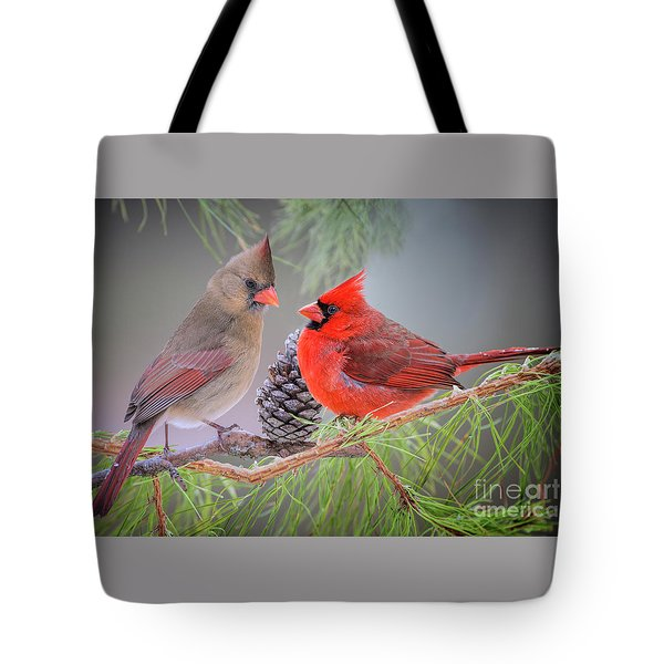 Cardinals In Pine Tote Bag