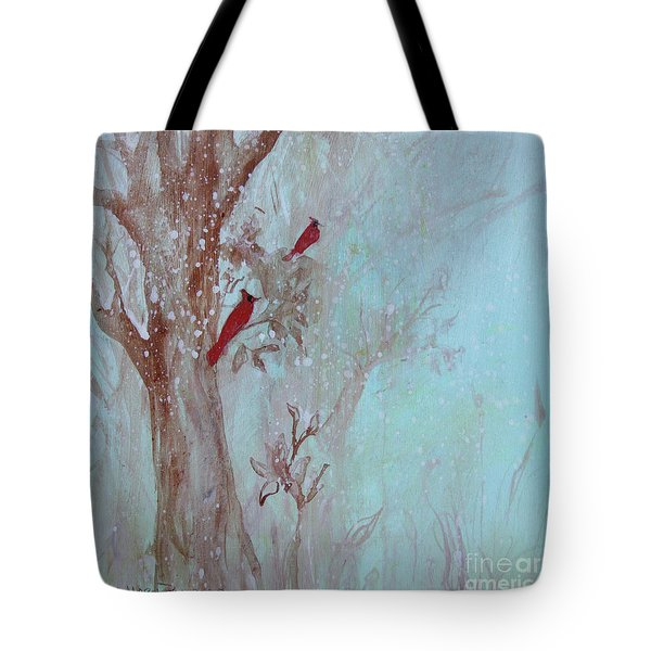 Tote Bag featuring the painting Cardinals In Trees Whilst Snowing by Robin Maria Pedrero