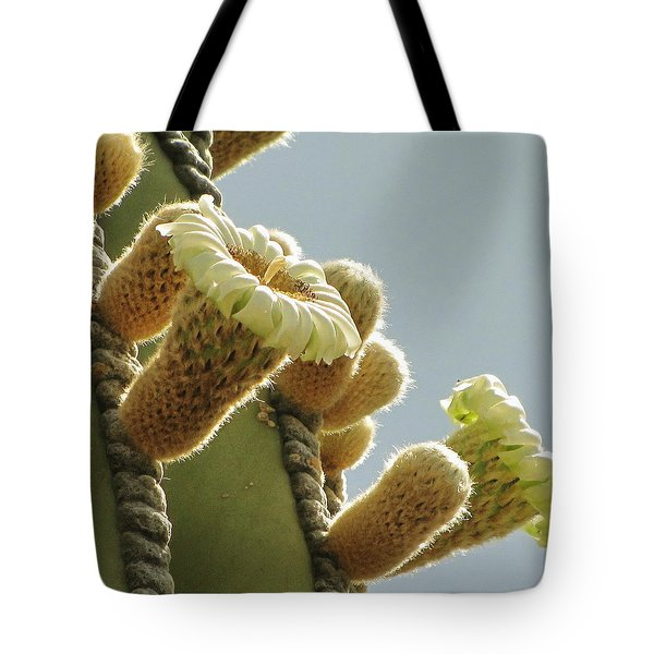Tote Bag featuring the photograph Cardon Cactus Flowers by Marilyn Smith