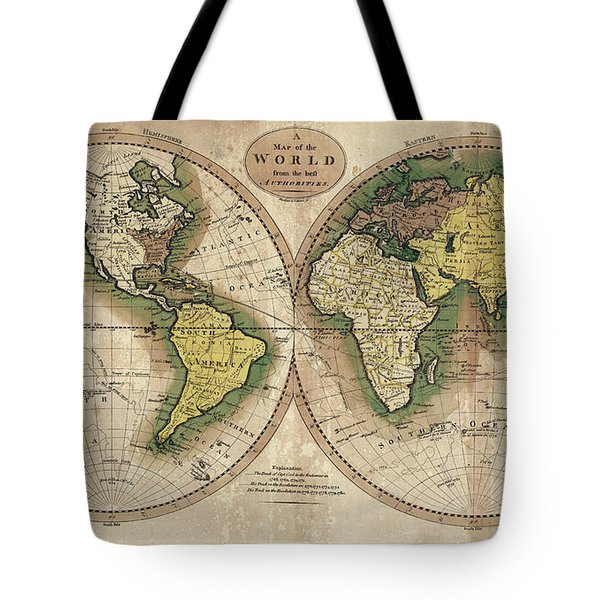 Tote Bag featuring the photograph Carey's Map Of The World  1795 by Daniel Hagerman