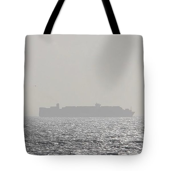 Tote Bag featuring the photograph Cargo Au Large by Marc Philippe Joly