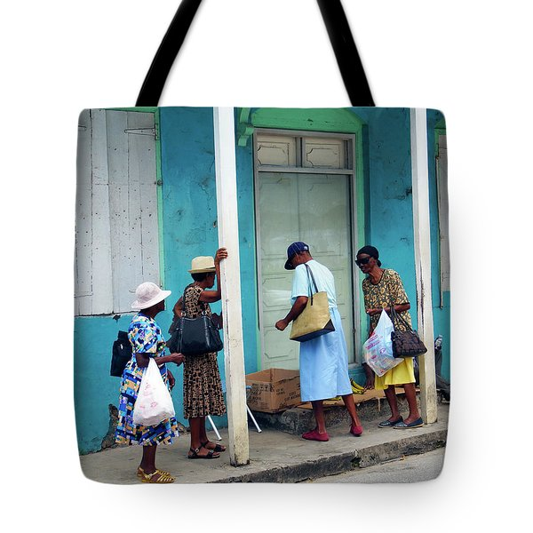 Tote Bag featuring the photograph Caribbean Blue, Speightstown, Barbados by Kurt Van Wagner