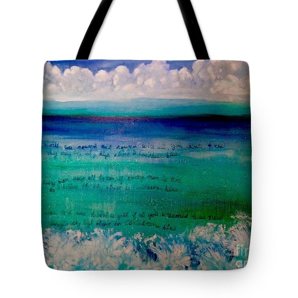 Caribbean Blue Words That Float On The Water  Tote Bag