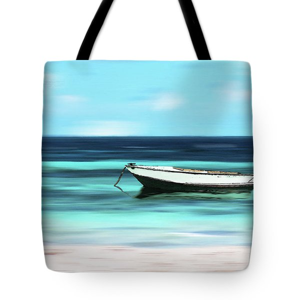 Caribbean Dream Boat Tote Bag by Deborah Smith
