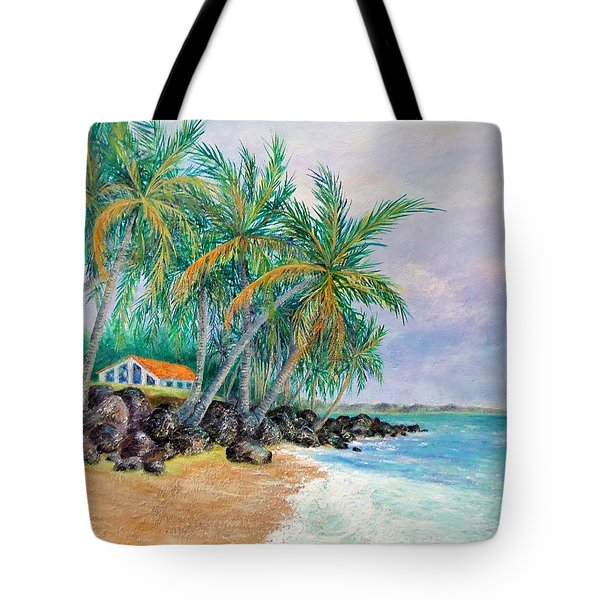 Tote Bag featuring the painting Caribbean Retreat by Susan DeLain