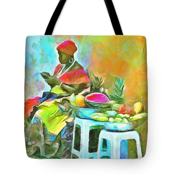 Caribbean Scenes - De Fruit Lady Tote Bag