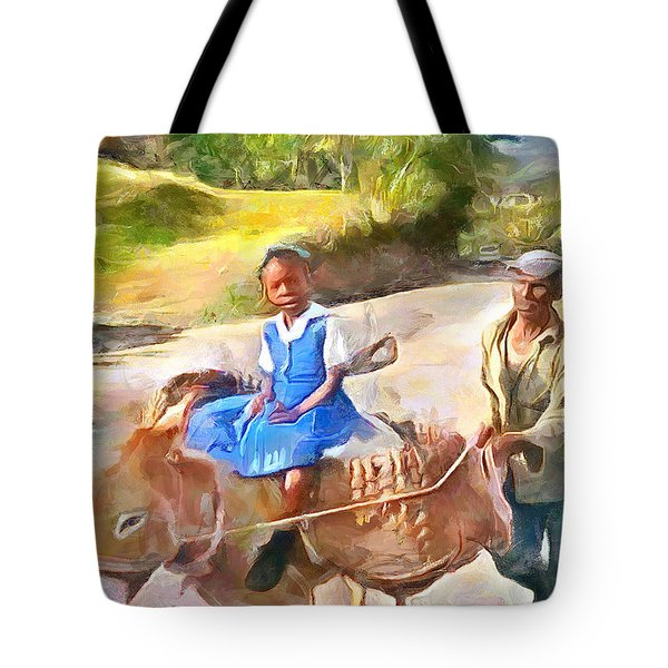 Caribbean Scenes - School In De Country Tote Bag by Wayne Pascall