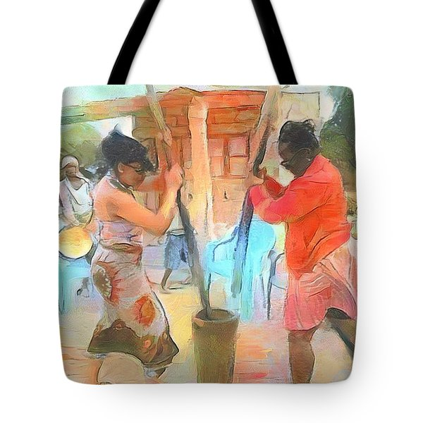 Caribbean Scenes - Mortar And Pestle In De Country Tote Bag