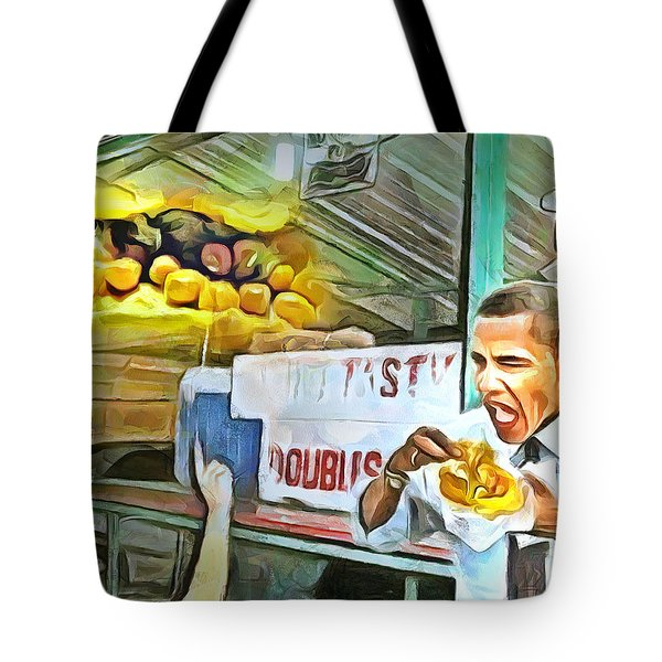 Caribbean Scenes - Obama Eats Doubles In Trinidad Tote Bag
