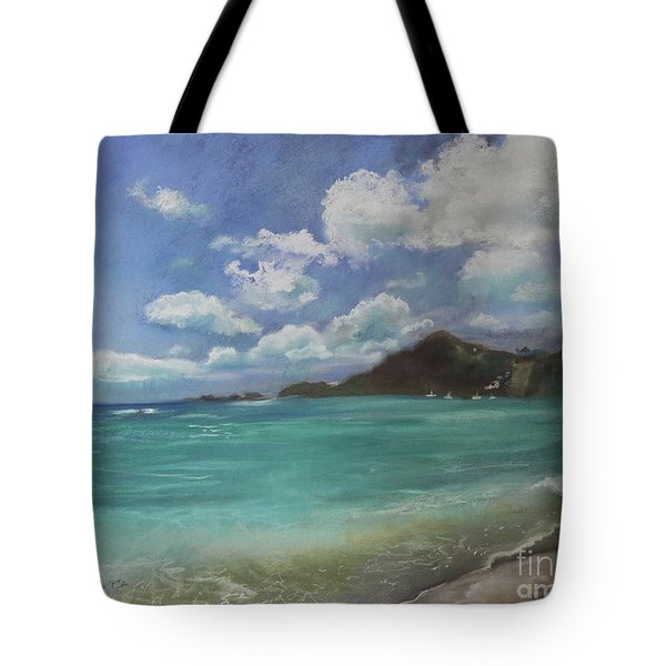Tote Bag featuring the pastel Caribbean Sea Day Antigua by Robin Maria Pedrero