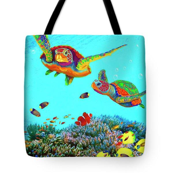 Caribbean Sea Turtles And Reef Fish Vertical Tote Bag