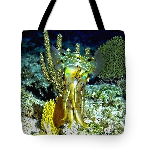 Caribbean Squid At Night - Alien Of The Deep Tote Bag