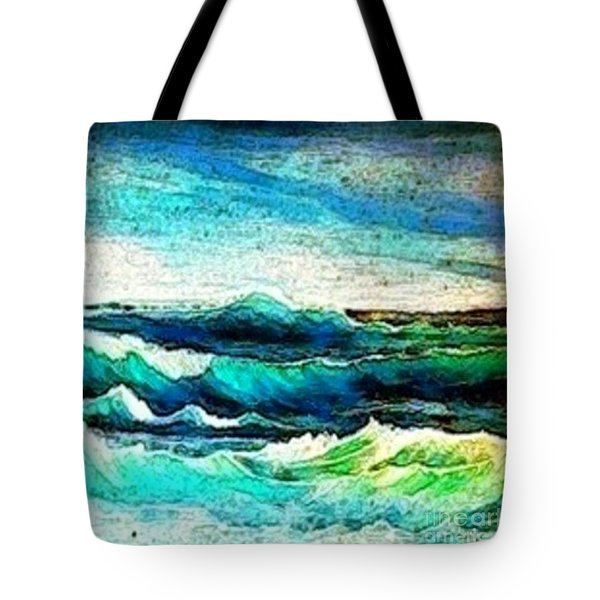 Tote Bag featuring the painting Caribbean Waves by Holly Martinson
