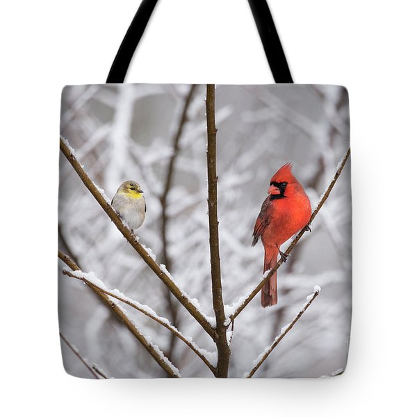 Goldfinch And Cardinal Tote Bag