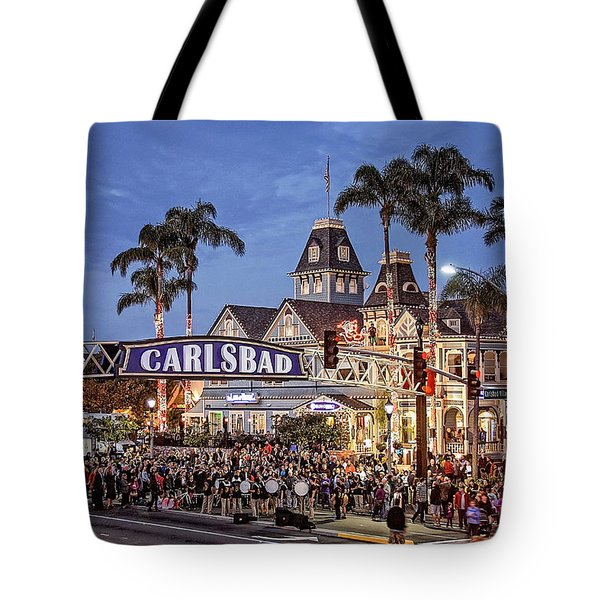 Carlsbad Village Sign Lighting Tote Bag