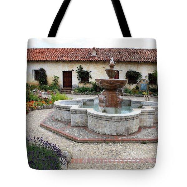 Carmel Mission Courtyard Tote Bag by Carol Groenen