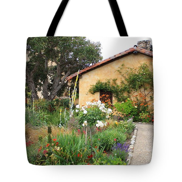 Carmel Mission With Path Tote Bag by Carol Groenen