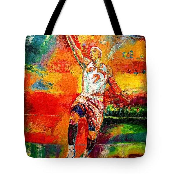 Carmelo Anthony New York Knicks Tote Bag by Leland Castro