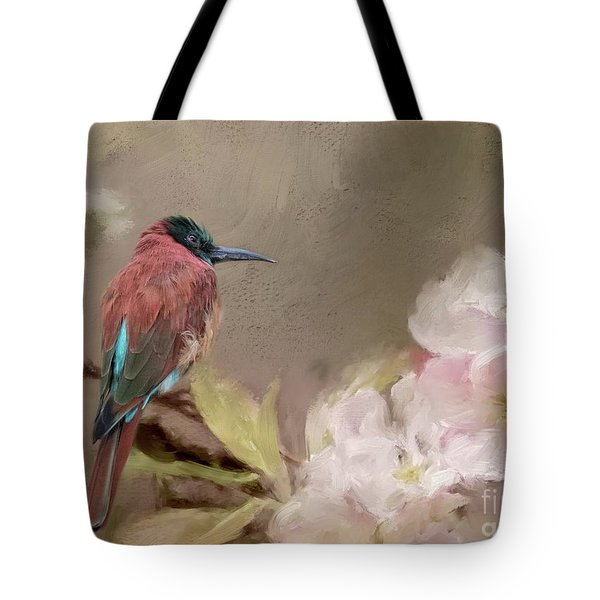 Carmine Bee-eater Tote Bag by Eva Lechner