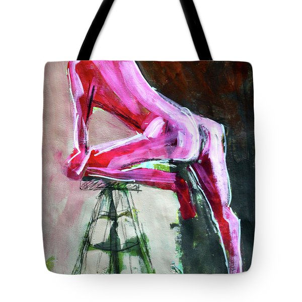 Tote Bag featuring the painting Carmine Figure No. 3 by Nancy Merkle