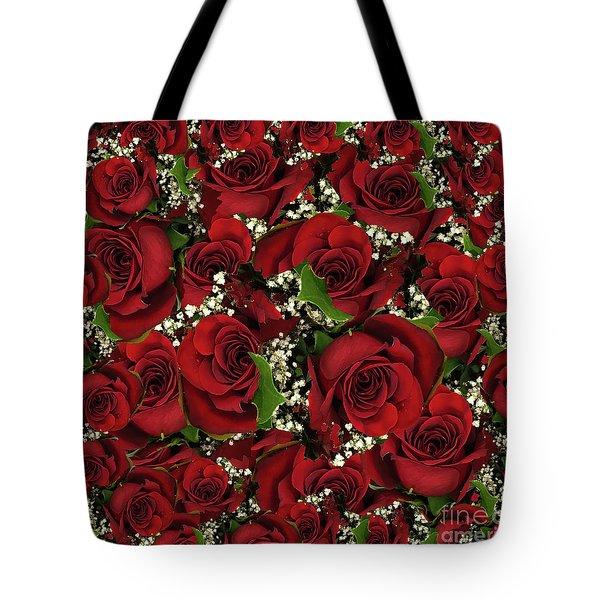 Carmine Roses Tote Bag