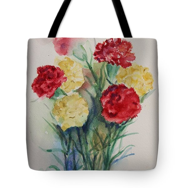 Tote Bag featuring the painting Carnation Flowers Still Life by Geeta Biswas