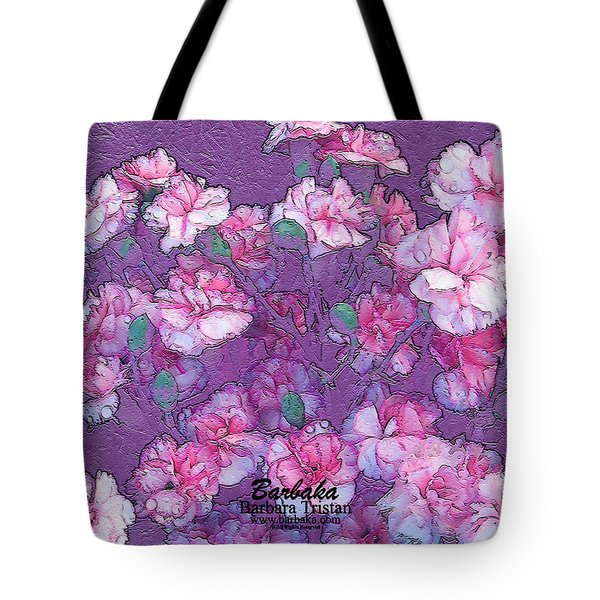 Tote Bag featuring the digital art Carnation Inspired Art by Barbara Tristan