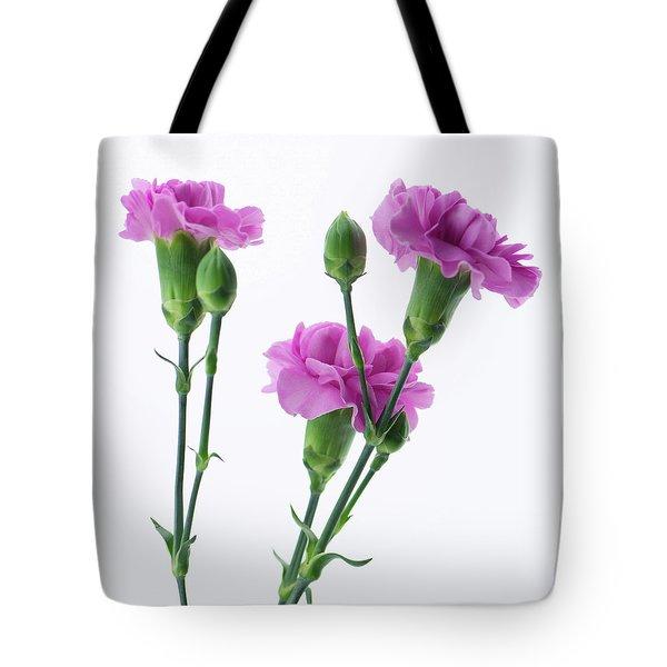 Carnations Three Lavender Tote Bag