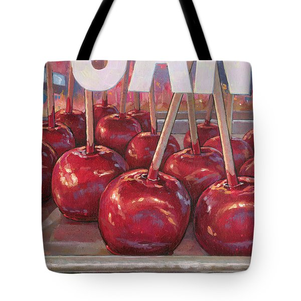 Tote Bag featuring the painting Carnival Apples by Lesley Spanos