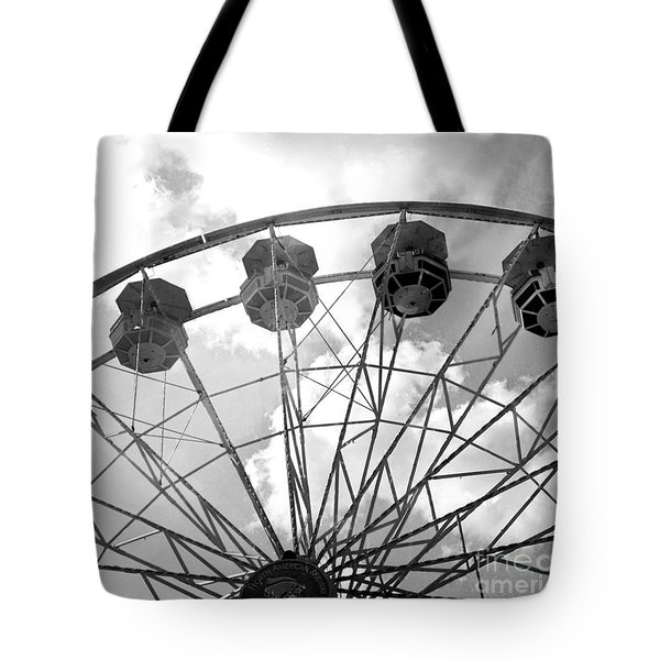 Tote Bag featuring the photograph Carnival Ferris Wheel Black And White Print - Carnival Rides Ferris Wheel Black And White Art Prints by Kathy Fornal