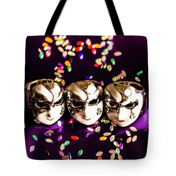 Carnival Mask Jewelry On Purple Background Tote Bag