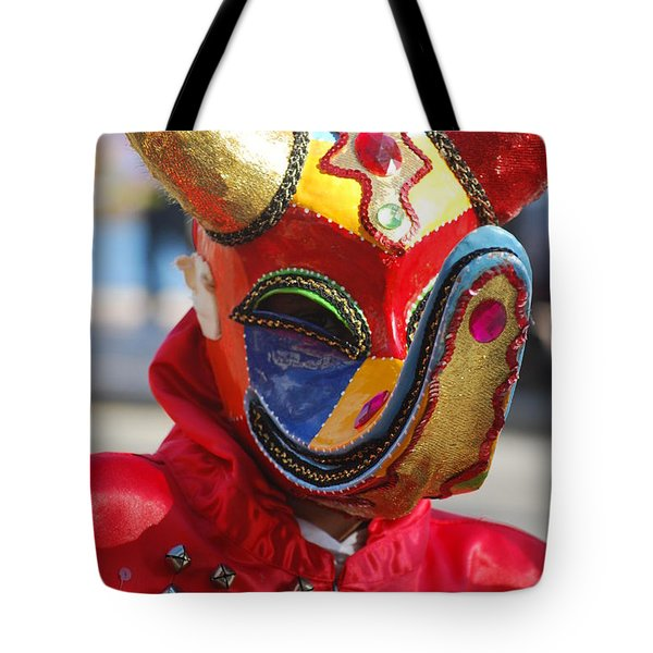 Carnival Red Duck Portrait Tote Bag by Heather Kirk