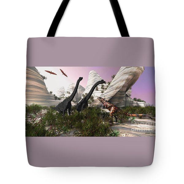 Carnotaurus Attack Tote Bag by Corey Ford