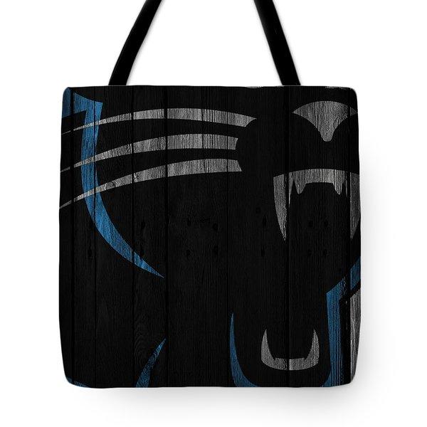 Caroilina Panthers Wood Fence Tote Bag by Joe Hamilton