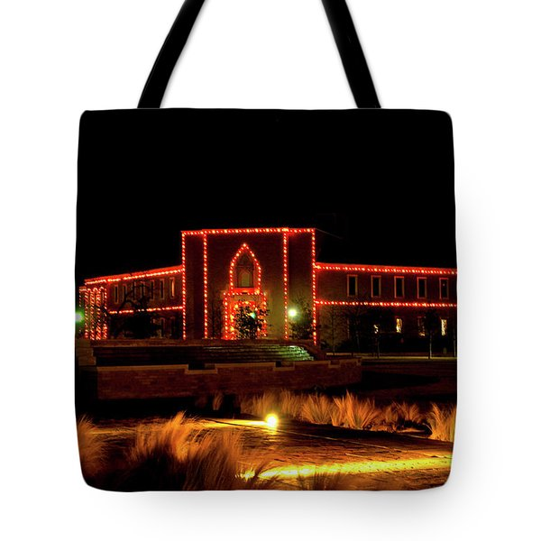 Tote Bag featuring the photograph Carol Of Lights At Science Building by Mae Wertz