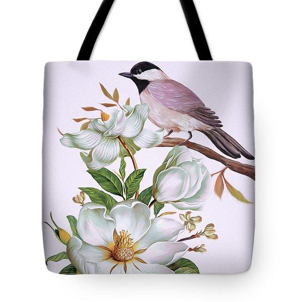 Carolina Chickadee And Magnolia Flower Tote Bag