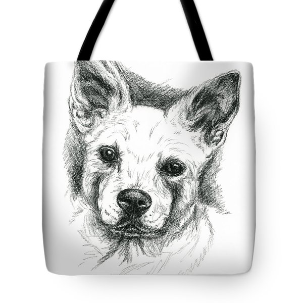 Carolina Dog Charcoal Portrait Tote Bag