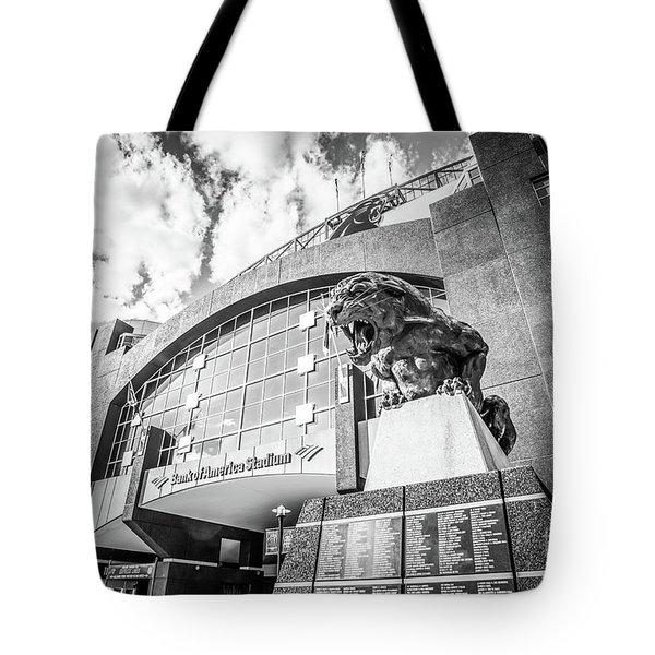 Carolina Panthers Stadium Black And White Photo Tote Bag by Paul Velgos