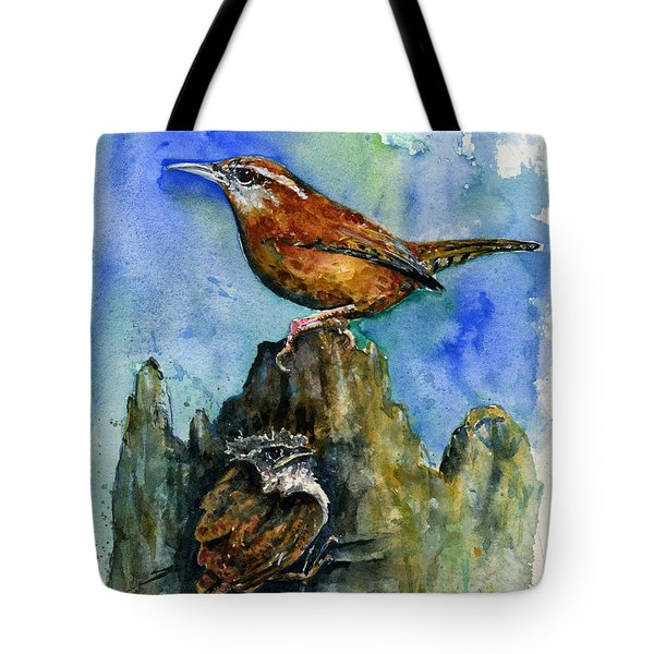 Carolina Wren And Baby Tote Bag by John D Benson