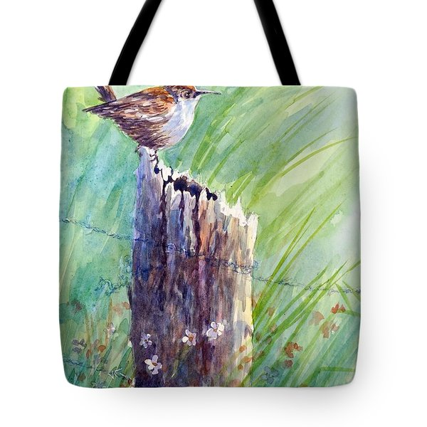 Tote Bag featuring the painting Carolina Wren by Gloria Turner